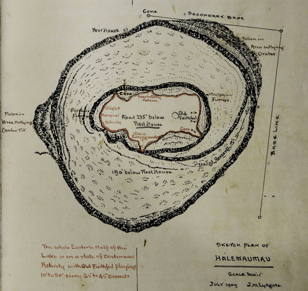 Sketch map of Halemaumau, July 1909, J.M. Lydgate; showing Old Faithful, areas of activity, sulphur fumes, caves, Fallen-in Areas.